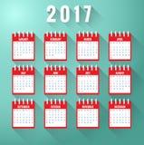 Calendar pelo ano 2017 ilustração do vetor