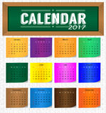 Calendar pelo ano 2017 ilustração stock
