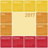 Calendar pelo ano 2017 ilustração royalty free