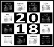 Calendar pelo ano 2018 Imagem de Stock Royalty Free