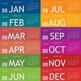 Calendar pelo ano 2018 com grupo de cartão um da cor Foto de Stock Royalty Free