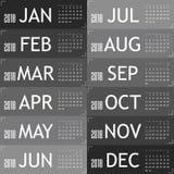 Calendar pelo ano 2018 com ilustração cinzenta do cartão ilustração royalty free
