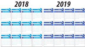 Calendar pelo ano 2018 e 2019 ilustração stock