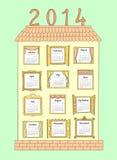 Calendar pelo ano 2014. Uma casa pintada com Windows. Imagens de Stock Royalty Free