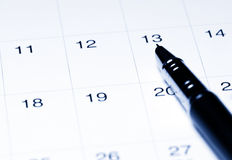 Calendar with pen Royalty Free Stock Images