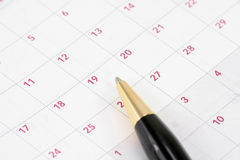 Calendar and pen Royalty Free Stock Images