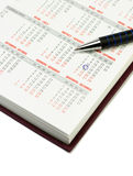 Calendar and pen. Over white background. September 11 checked Royalty Free Stock Image