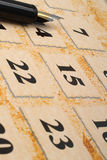 Calendar and pen Stock Photography