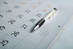 Calendar and pen close-up Royalty Free Stock Photography