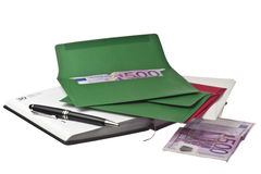 Calendar, pen and colored envelopes with Euros Stock Photos