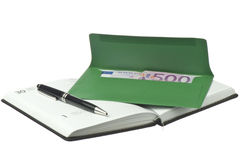 Calendar, pen and colored envelopes with Euros Royalty Free Stock Images