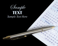 Calendar and pen with copy space Royalty Free Stock Photo