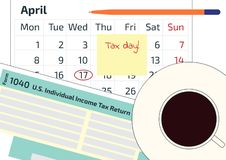 A calendar, a pen and 1040 income tax form. 2019, 2020 Tax Form 1040 and a calendar. Tax Day on April 17. A cup of coffee, an over. A calendar, a pen and 1040 stock illustration