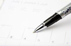 Calendar a pena julho 4 Foto de Stock Royalty Free