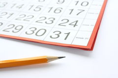 Calendar and pencil Royalty Free Stock Photo
