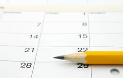 Calendar and a pencil Stock Images