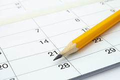 Calendar and a pencil Royalty Free Stock Photo