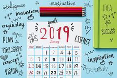 Calendar of 2019, pencil crayons and resolutions royalty free stock images