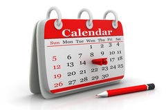 Calendar with pencil Royalty Free Stock Photo