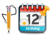 A calendar with a pencil and daisy flower birthday Royalty Free Stock Images