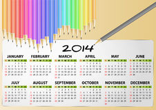 2014 calendar pencil. Illustration of 2014 calendar pencil Stock Image