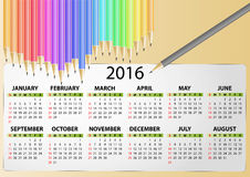 2016 calendar pencil. Illustration of 2016 calendar with pencil vector illustration