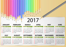 2017 calendar pencil. Illustration of 2017 calendar with pencil Stock Image