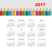 Calendar 2017 with a pencil. Week Starts Sunday. Modern vector Calendar 2017 year with a pencil. Week Starts Sunday, eps 10 Royalty Free Stock Photography