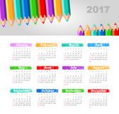 Calendar 2017 with a pencil. Week Starts Sunday. Modern vector Calendar 2017 year with a pencil. Week Starts Sunday, eps 10 Stock Photography