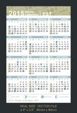 Calendar 2015 with Phases of the moon/ EST Stock Image