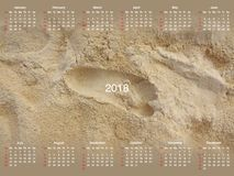Calendar for 2018. Calendar with a photo for 2018 Stock Images