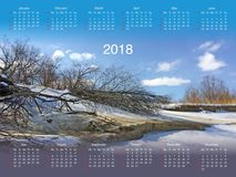Calendar for 2018. Calendar with a photo for 2018 Royalty Free Stock Image