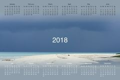 Calendar for 2018. Calendar with a photo for 2018 Stock Image