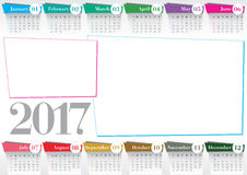 Calendar 2017 with 2 photo frames Stock Photos