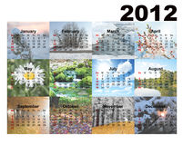 Calendar with photos seasons Royalty Free Stock Images