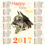 Calendar for 2017 with a picture of Cat polygon Stock Photos