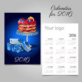 Calendar 2016 with picture of fruit cake and gift. Calendar 2016 with picture of fruit and berries cake and gift stock illustration