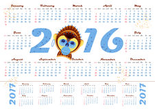 2016 calendar with picture monkey - symbol of year. A4 format, Vector illustration Royalty Free Stock Photography