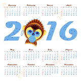 2016 calendar with picture monkey - symbol of year Royalty Free Stock Photos