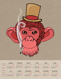 Calendar for 2016 with a picture of a red monkey in a  hat Royalty Free Stock Photography