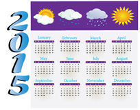 The calendar with a picture of the seasons. 2015. Vector Royalty Free Stock Photography