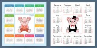 Calendar 2019. Pig. Cartoon piggy. Chinese horoscope. Week start. S on Sunday Royalty Free Stock Image