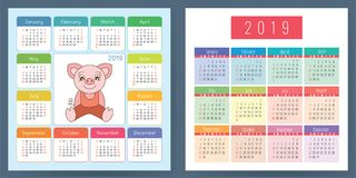Calendar 2019. Pig. Cartoon piggy. Chinese horoscope. Week start. S on Sunday. Vector set Stock Photography