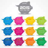 Calendar of 2015 with piggy bank concept design Royalty Free Stock Image
