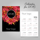 2016 calendar with pink roses, space for logo Stock Photography