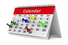 Calendar with pins on white background Royalty Free Stock Photos