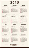 2015 Calendar. Plain and elegant annual calendar for 2015, weeks starts on Sunday Stock Photos