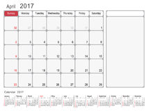 Calendar Planner April 2017. 2017 Calendar Planner Design, April 2017 year vector calendar design Stock Image