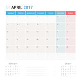 Calendar Planner for April 2017 Vector Design Template Stationary. Week Starts Monday Stock Photography