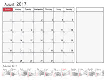 Calendar Planner August 2017. 2017 Calendar Planner Design, August 2017 year vector calendar design Royalty Free Stock Images